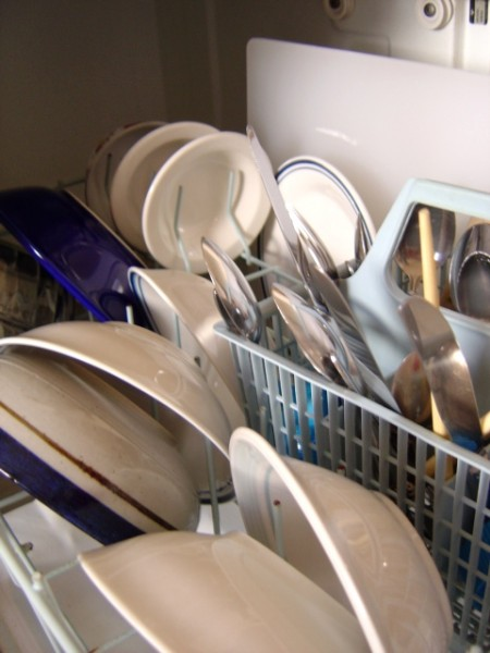 photo of clean dishes in the dishwasher - plates, bowls, silverware