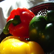 three bell peppers in a collander in the sunlight