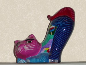 photo of colorful Mexican style ceramic cat