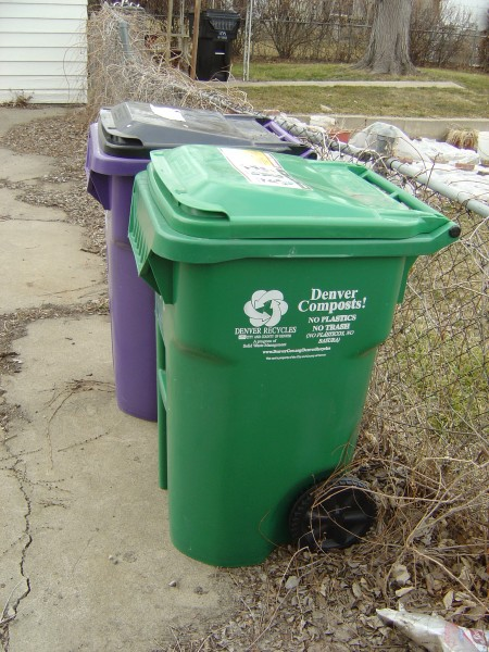 photo of Denver municipal green compost trash can and purple recycling cart