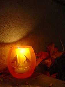 Halloween Jackolantern Candle on Porch