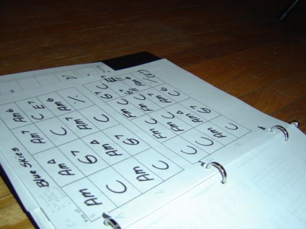 photo of musical chord charts