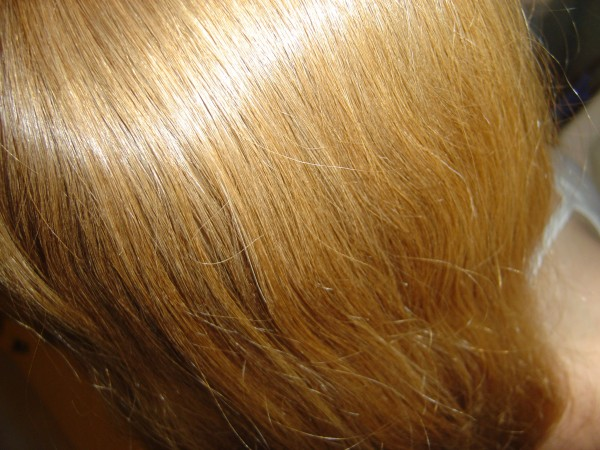 Photo of the top of a red-headed woman's head