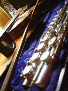 photo of a flute in a blue velvet case with a violin in the background