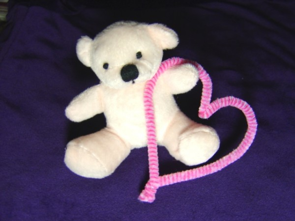 Photo of White Teddy bear holding a pink heart