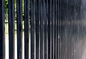 photo looking along the edge of a black security fence