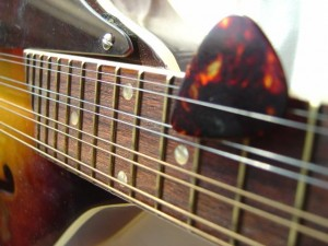 photo of mandolin fingerboard with pick in strings