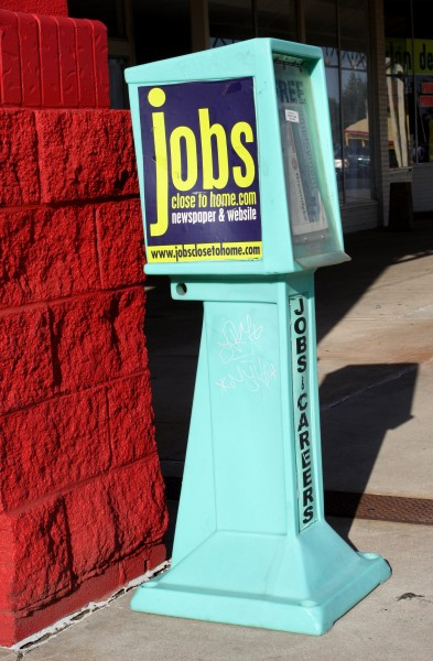 Free photo of Jobs advertising newspaper distribution box