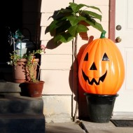 Free Photo of a plastic Halloween Pumpkin on a porch