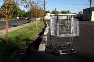 grocery cart in parking lot - free high resolution photo