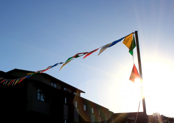 free photo of pennant flags with sun in background