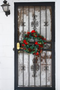 Door with Christmas Wreath - Free High Resolution Photo
