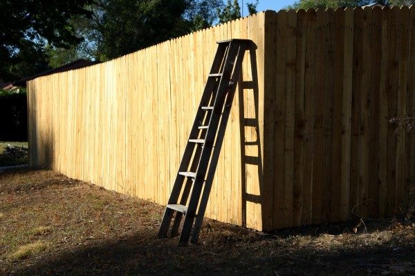 wooden ladder leaning against fence - free high resolution photo