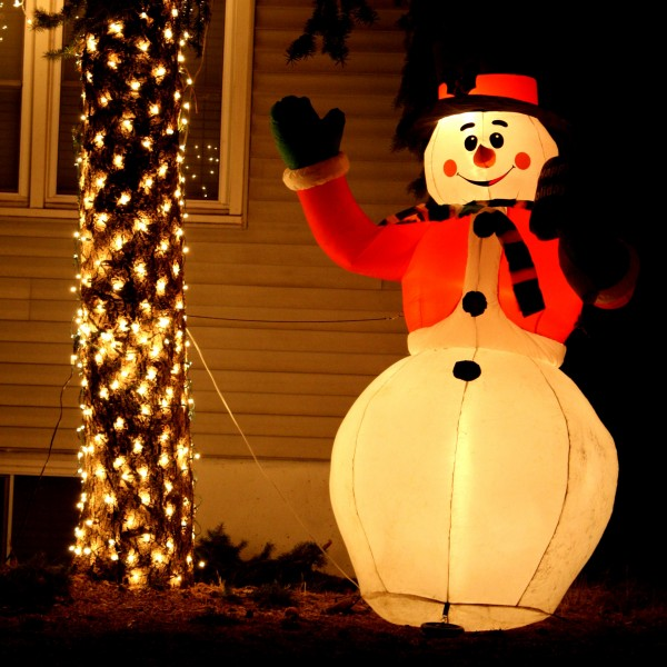lighted snowman holiday yard ornament - free high resolution photo