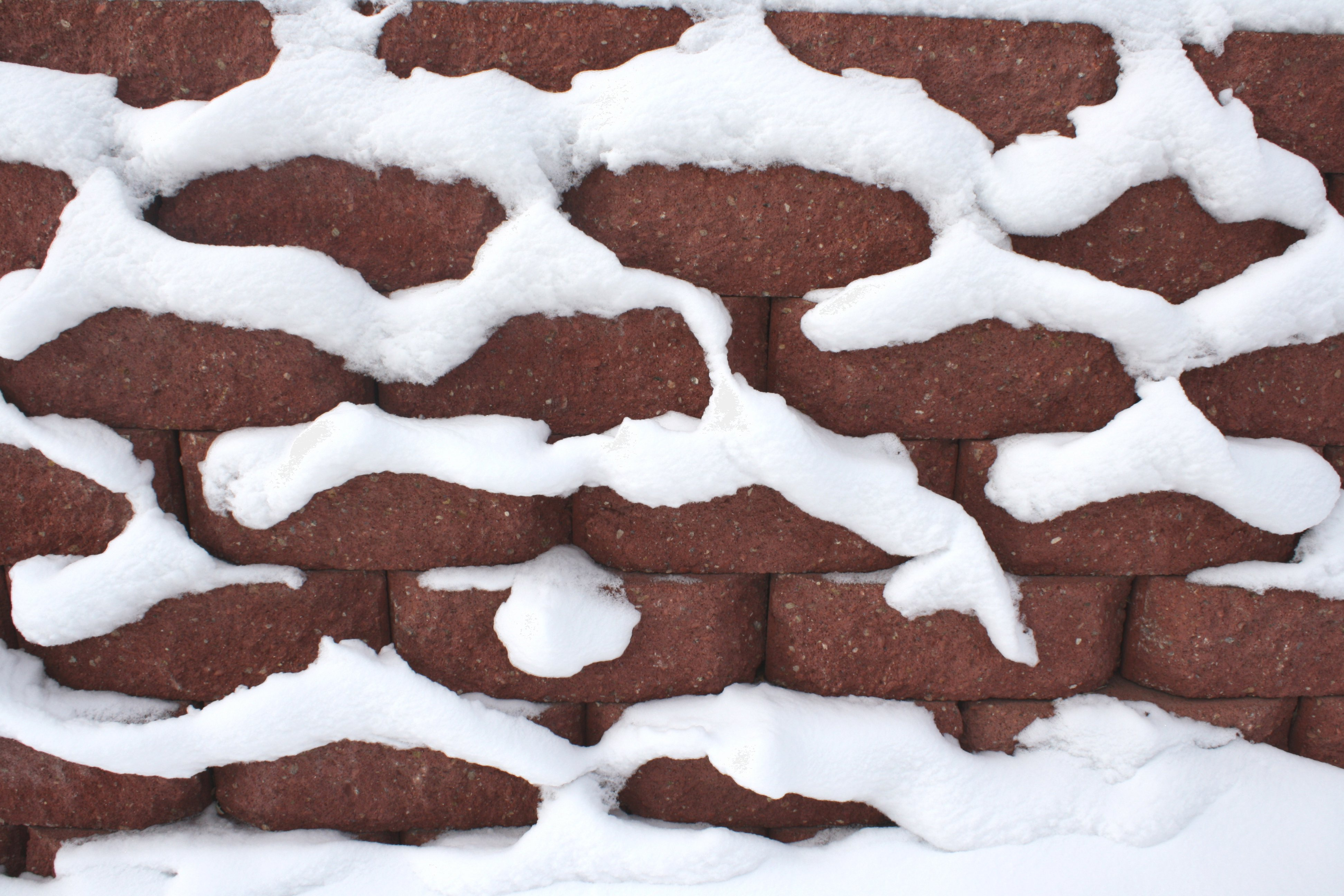 Snow On Brick Wall Texture Picture Free Photograph