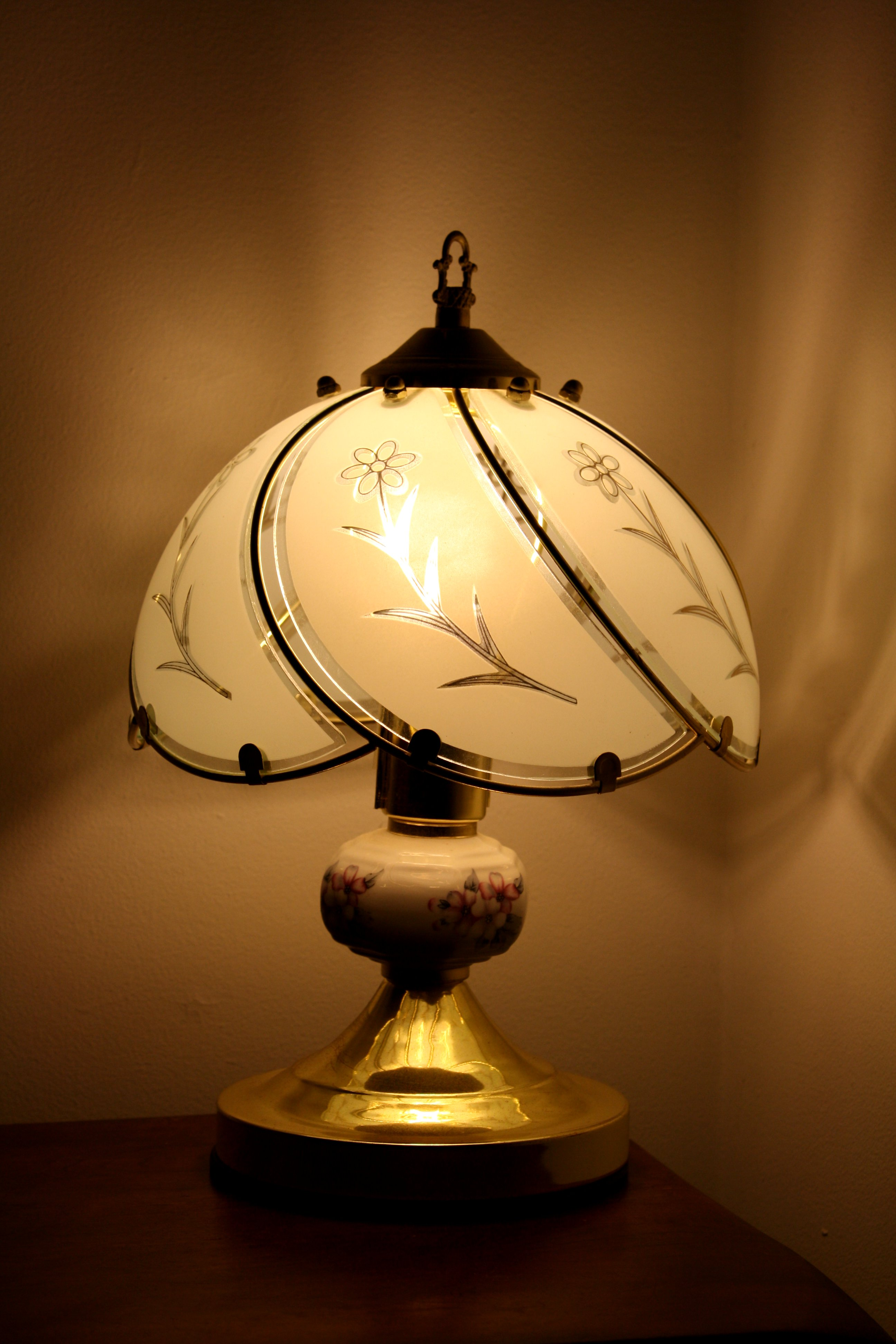 Bedside Lamp With Glass Shade Picture Free Photograph