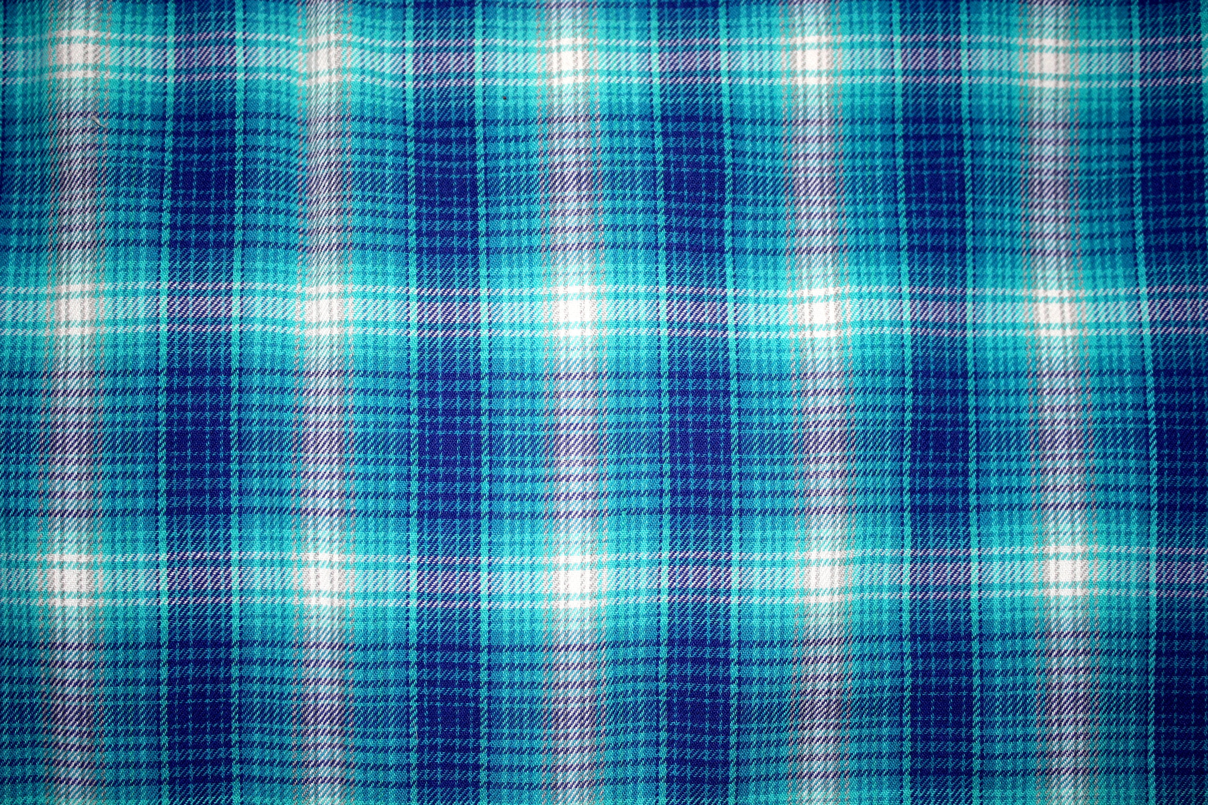 Blue Plaid Fabric Texture Photos Public Domain