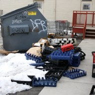 Trash Dumpster with Boxes and Plastic Crates - Free High Resolution Photo