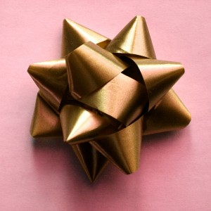 Gold Bow on Pink Wrapping Paper - Free High Resolution Photo