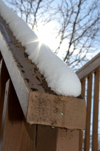 Melting Snow on Deck Rail - Free High Resolution Photo