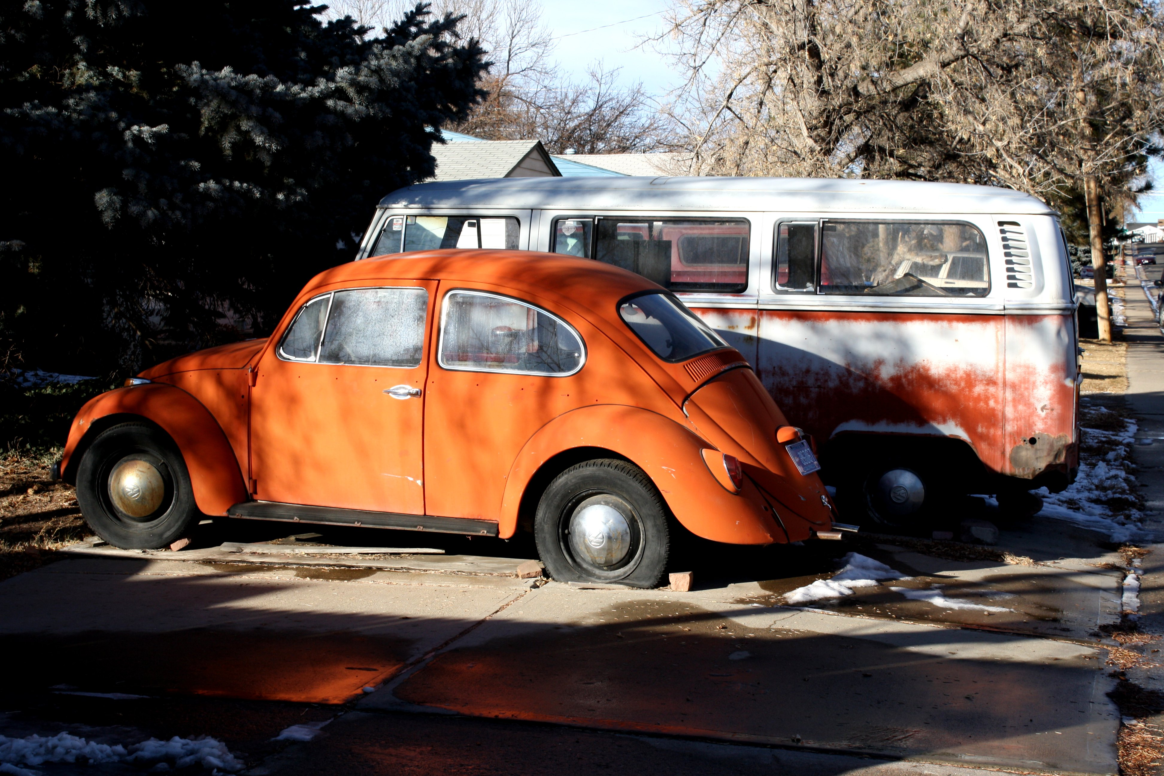 Old Volkswagen Bug and Van