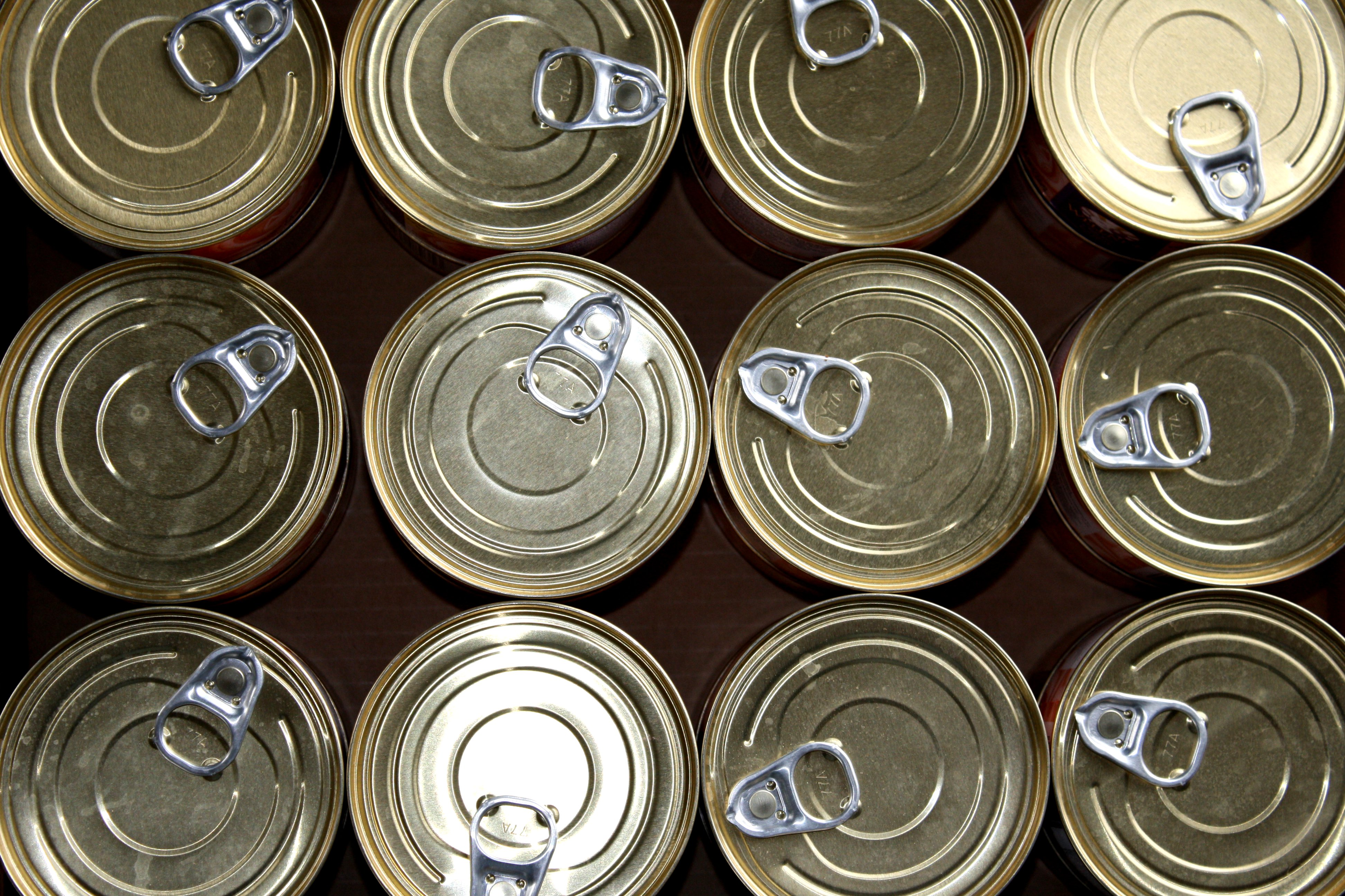 Pull Top Cat Food Cans Closeup Texture Picture Free