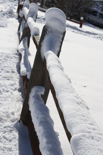 Rail Fence Covered with Snow - Free High Resolution Photo