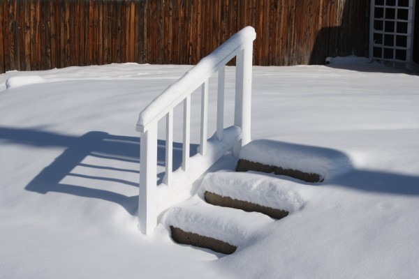 Snow Covered Steps and Rail - Free High Resolution Photo