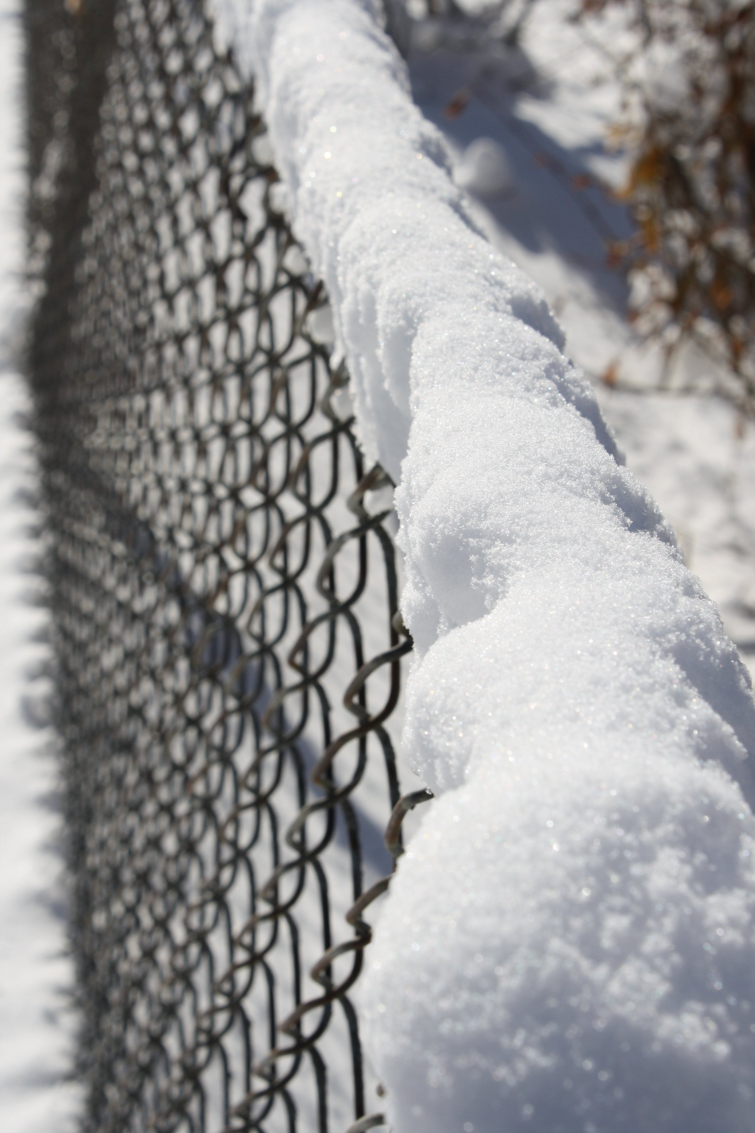 Snow On Chain Link Fence Picture