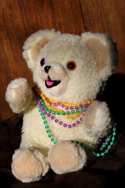 Teddy Bear Wearing Mardi Gras Beads - Free High Resolution Photo