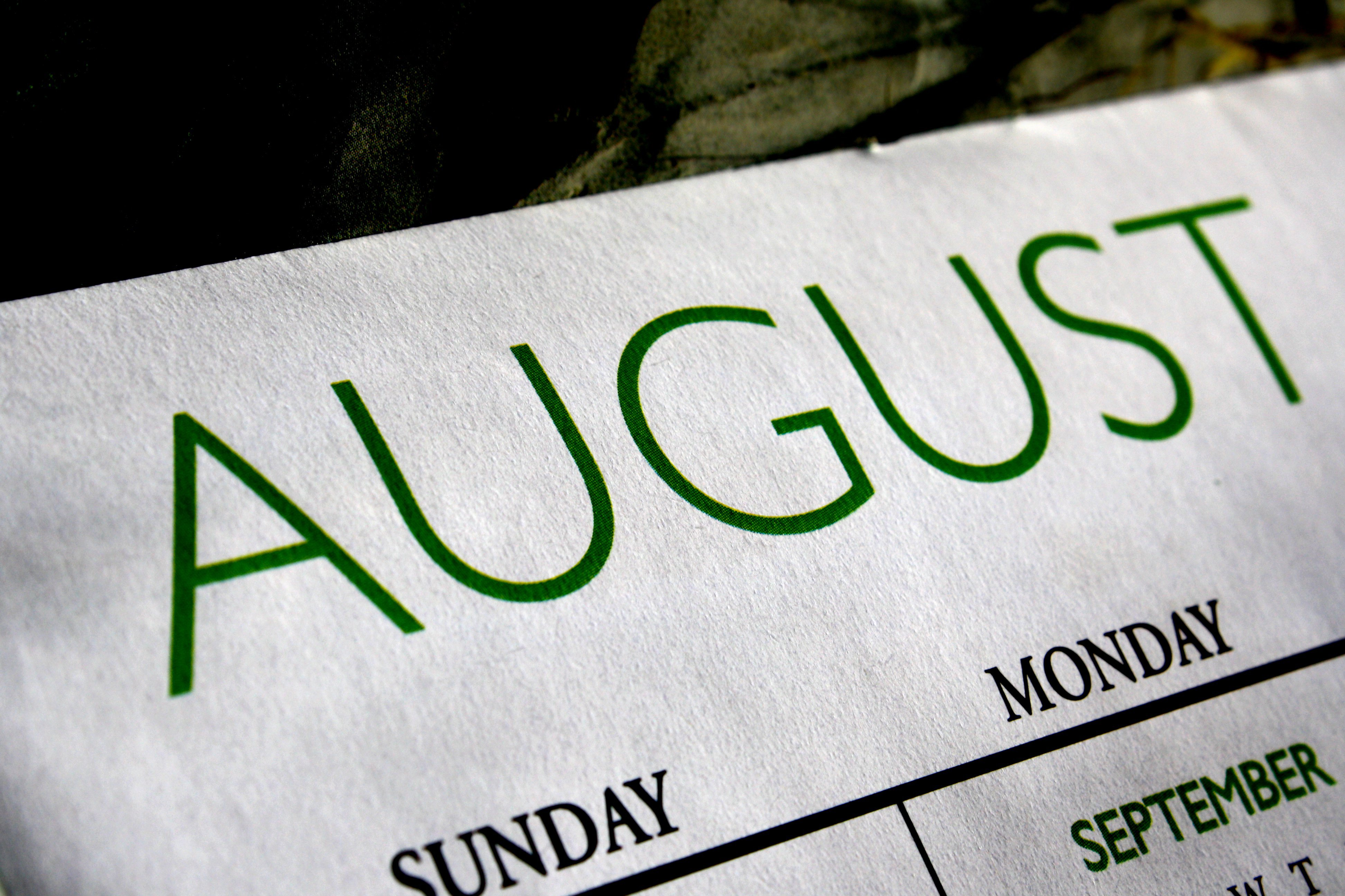 august calendar picture free photograph photos public domain