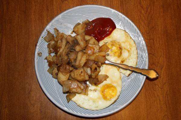 Fried Eggs and Home Fries Potatoes with Ketchup - Free High Resolution Photo