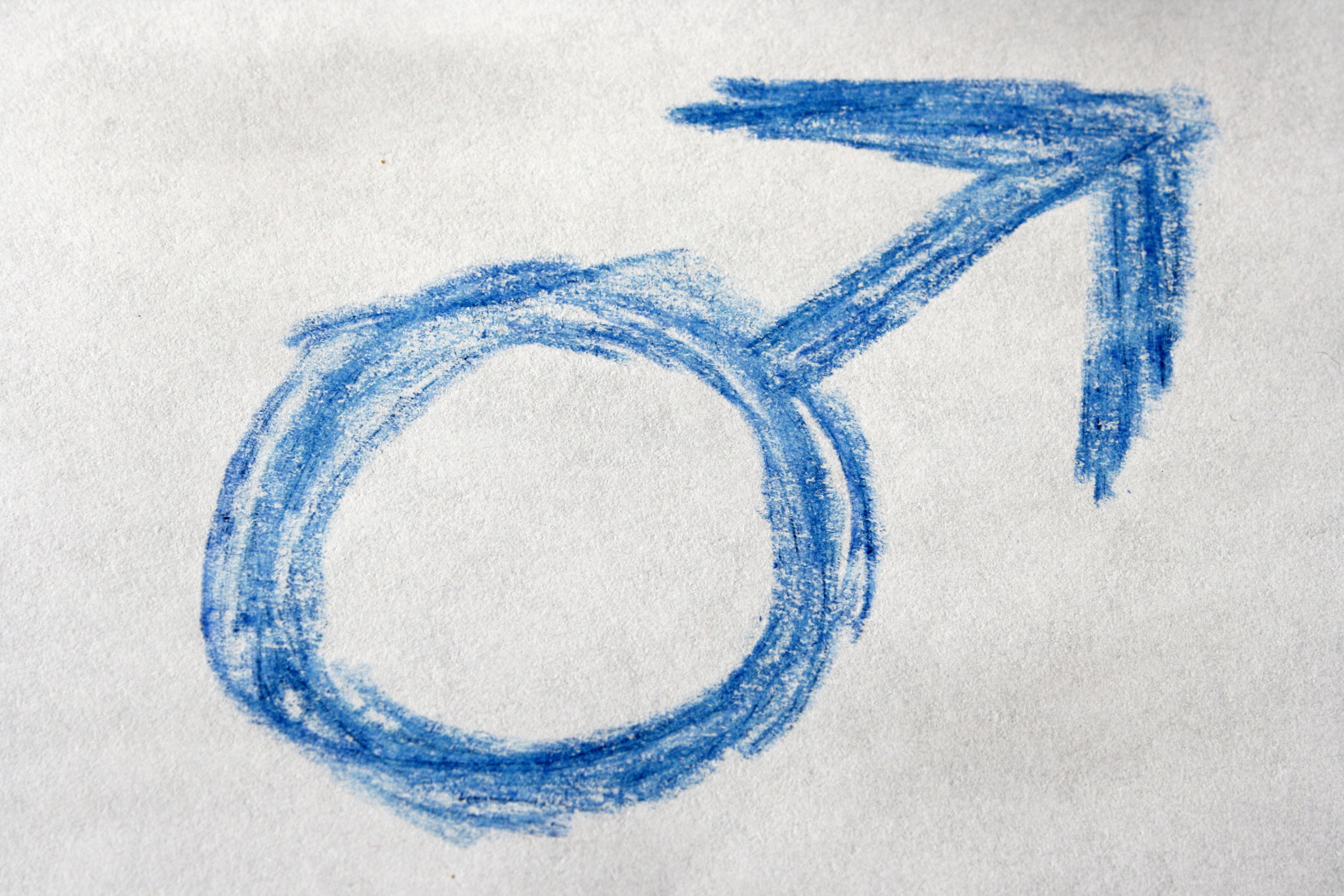 Blue Crayon Drawn Male Gender Sign Or Symbol Picture Free