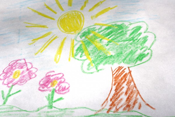 Child's Crayon Drawing of Tree with Sun and Flowers - Free High Resolution Photo