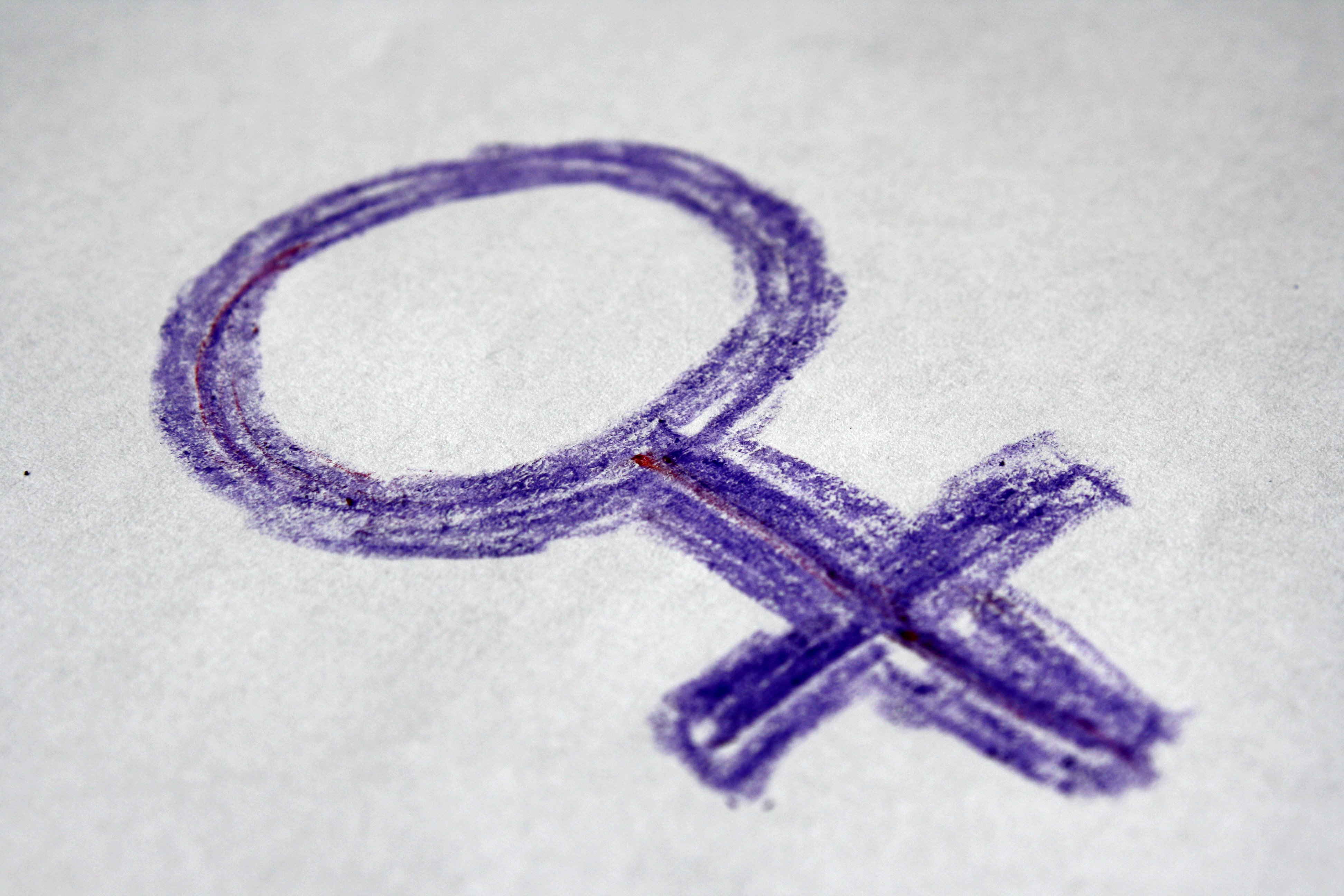Purple Crayon Drawn Female Gender Sign Or Symbol Photos Public Domain