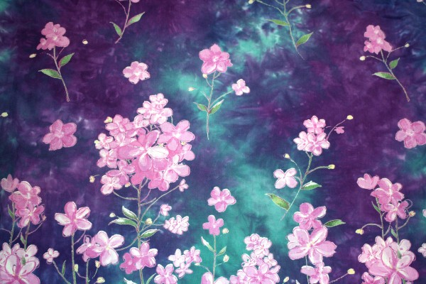 Purple And Green Batik Fabric Texture With Flowers Picture