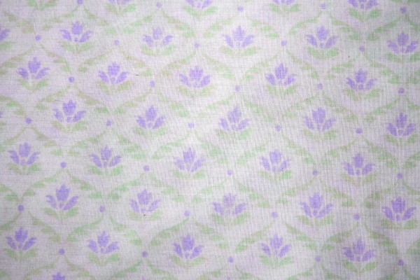 White Fabric with Purple and Green Floral Pattern Texture - Free High Resolution Photo