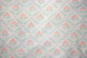 White Fabric with Orange and Green Floral Pattern Texture - Free High Resolution Photo