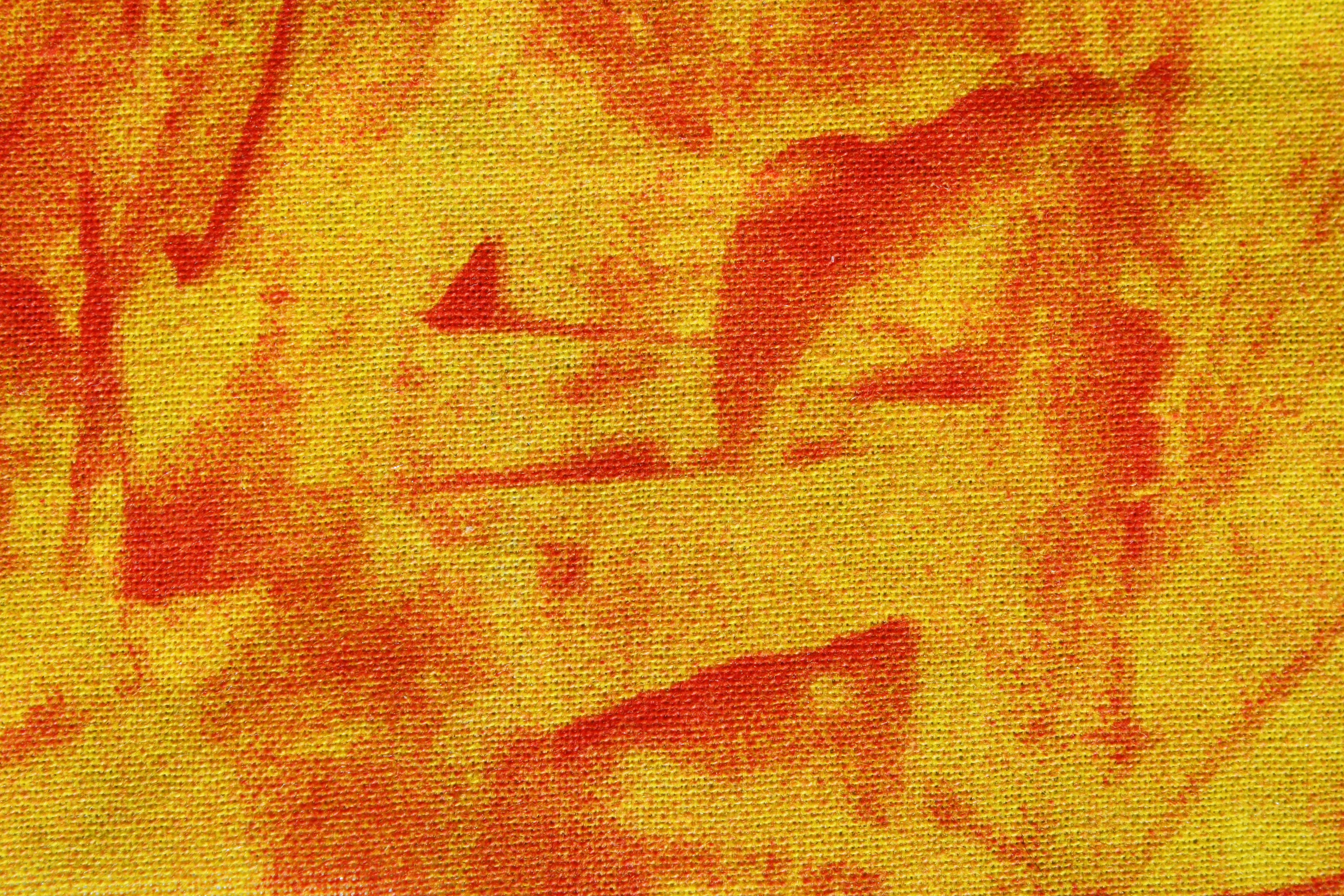 Yellow And Orange Random Pattern Print Fabric Texture