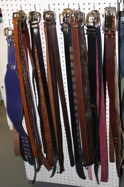 Belts Hanging On Display At Used Clothing Store Picture
