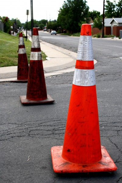 Orange Traffic Cones Blocking Intersection - Free High Resolution Photo