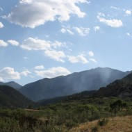Smoke Rising from Mountain Pass - Free High Resolution Photo