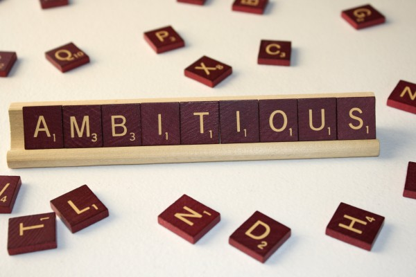 Ambitious - Free High Resolution Photo of the word Ambitious spelled in Scrabble tiles