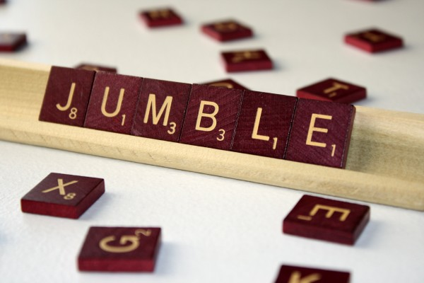 Jumble - Free High Resolution Photo of the word jumble spelled in Scrabble tiles