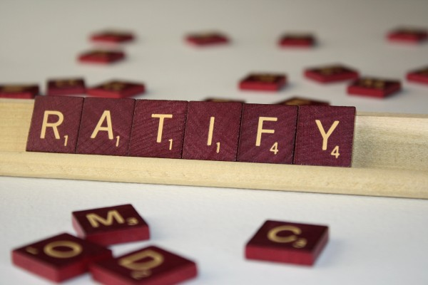 Ratify - Free High Resolution Photo of the word Ratify spelled in Scrabble tiles