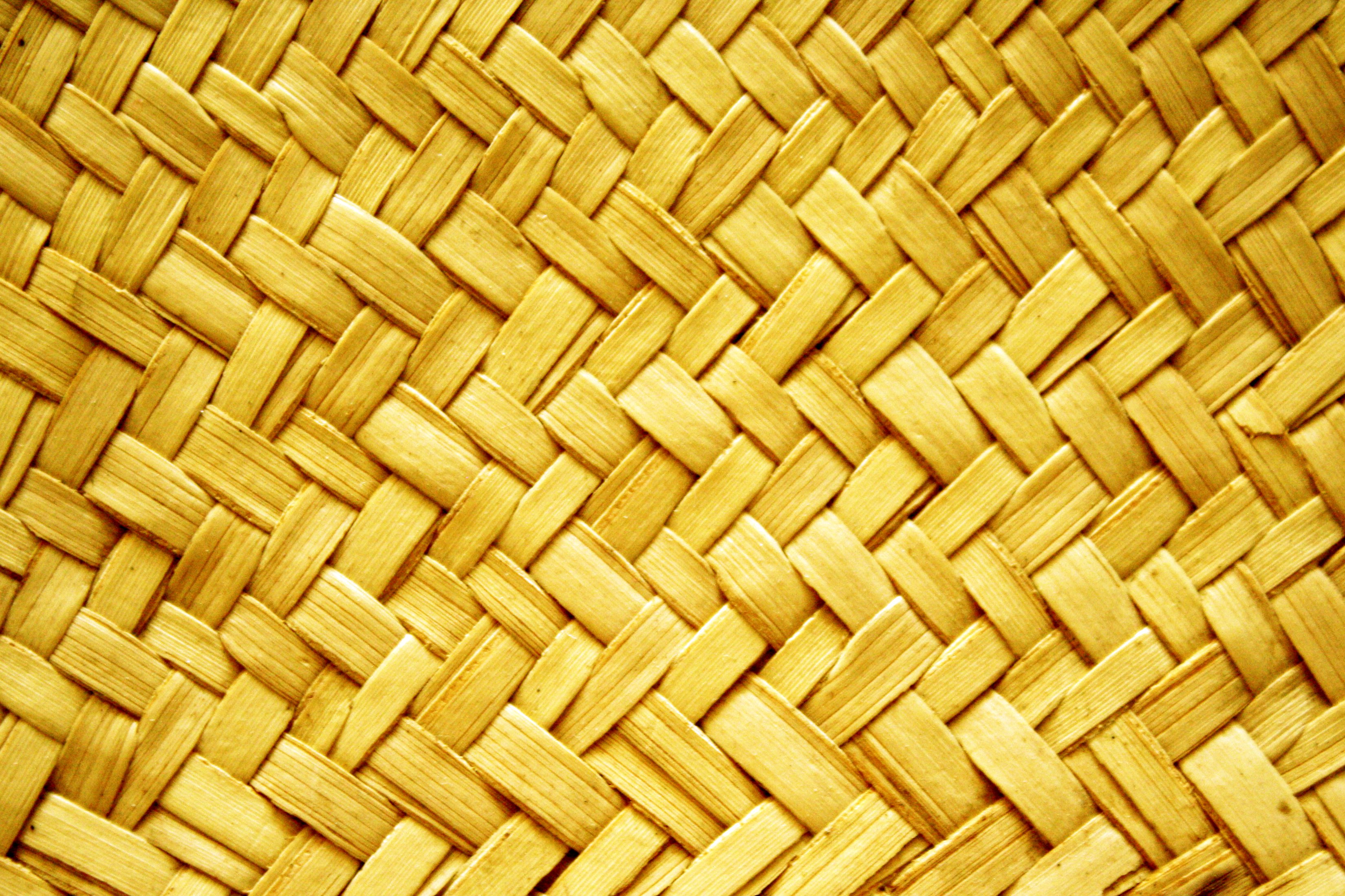 Yellow Woven Straw Texture Picture Free Photograph