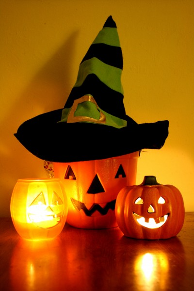 Halloween Jack-o-Lantern Bucket with Witch Hat and Candles - Free High Resolution Photo