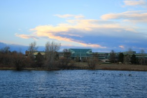 Lakewood Colorado City Center Building at Sunset from Belmar Park - Free High Resolution Photo