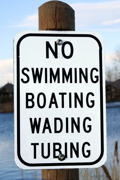 No Swimming Boating Wading or Tubing Sign - Free High Resolution Photo
