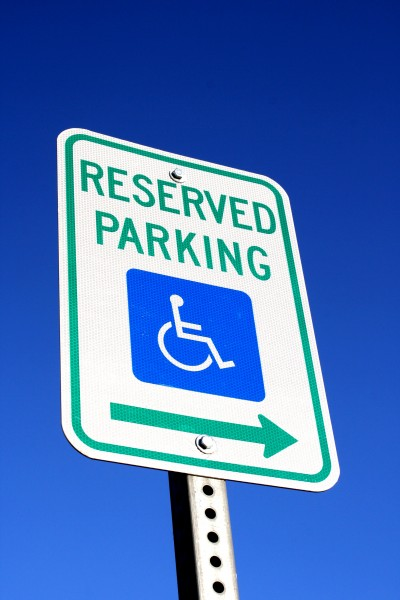 Reserved Wheelchair Parking Sign with Arrow - Free High Resolution Photo